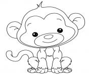 adorable petit singe pour enfant dessin à colorier