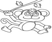 petit singe sur un arbre dessin à colorier