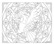 Coloriage pokemon mandala adulte Pidgeotto