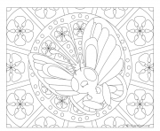 Coloriage pokemon mandala adulte Butterfree