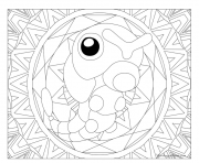 Coloriage pokemon mandala adulte Caterpie