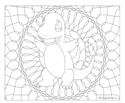 Coloriage pokemon mandala adulte Charmander