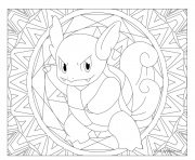 Coloriage pokemon mandala adulte Wartortle