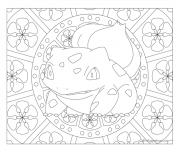 Coloriage pokemon mandala adulte Bulbasaur