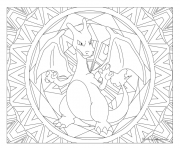 Coloriage pokemon mandala adulte Charizard