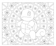 Coloriage pokemon mandala adulte Squirtle