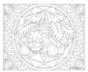 Coloriage pokemon mandala adulte Venusaur