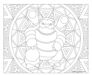 Coloriage pokemon mandala adulte Blastoise