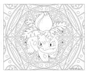 Coloriage pokemon mandala adulte Ivysaur