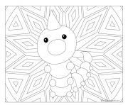 Coloriage pokemon mandala adulte Weedle