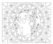 Adulte Pokemon Mandala Raichu dessin à colorier