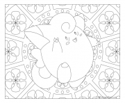 Coloriage Adulte Pokemon Mandala Clefairy