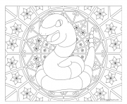 Coloriage Adulte Pokemon Mandala Ekans