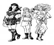 Coloriage xena gabrielle et red soja