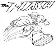 Coloriage flash super heros qui court cartoon dessin