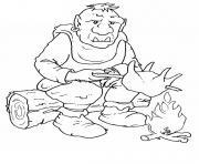 ogre se prepare a manger dessin à colorier