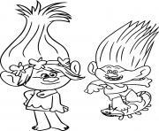 trolls poppy skateboard dessin à colorier