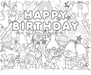 happy birthday bonne fete trolls dessin à colorier