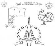 Coloriage fete nationale 14 juillet france tour eiffel dessin