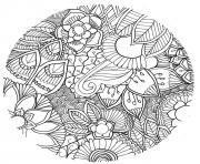 mandala fleurs vegetales foret adulte dessin à colorier