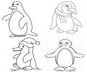 Coloriage pingouin de noel dessin