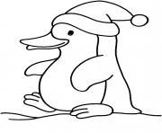 Coloriage pingouin en vacance dessin