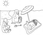 pingouin en vacance dessin à colorier