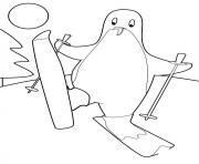 pingouin qui fait du ski dessin à colorier