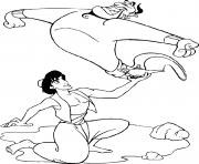 Aladdin delivre le genie dessin à colorier