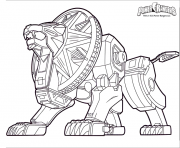 Coloriage power rangers dino charge lion robot
