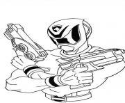 power rangers avec fusils pret combat dessin à colorier