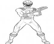 Coloriage power rangers position de tir
