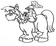 chevalier avec armur un cheval dessin à colorier