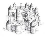 chateau fort du moyen age 2 dessin à colorier