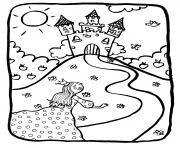 dessin chateaux avec princesse dessin à colorier
