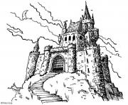 Coloriage chateau fort du moyen age par peter gray