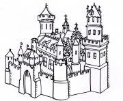 chateau forteresse dessin à colorier