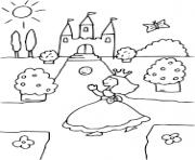 princesse cherche son chateau dessin à colorier
