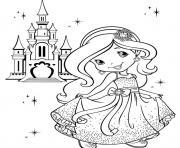 Princesse charlotte devant son chateau dessin à colorier