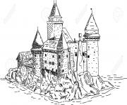 chateau fort du moyen age pres de la mer dessin à colorier