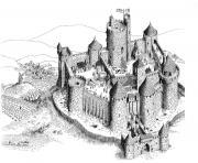 chateau fort du moyen age dessin à colorier