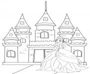 Coloriage barbie devant son chateau