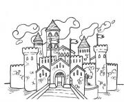 chateau pres de la mer dessin à colorier