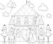 chateau princesses toute la famille de princesse dessin à colorier