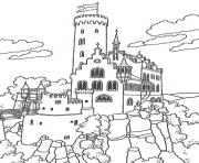 chateau en allemagne dessin à colorier