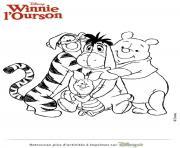 winnie ourson et ses amis dessin à colorier