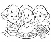 Coloriage cute action de grace enfants