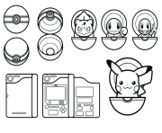 Coloriage pokemon pikachu pokeball
