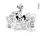 pluto donald dingo mickey et minie deguises pour halloween dessin à colorier