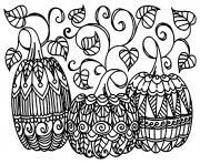halloween trois citrouilles dessin à colorier